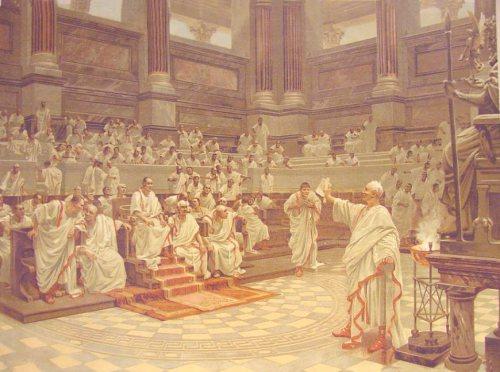 Imagen en la que se puede ver el senado romano, principal sitio donde se ejercitaba la oratoria romana