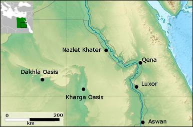 Imagen que muestra señalada la ubicación del yacimiento de Nazlet Khater
