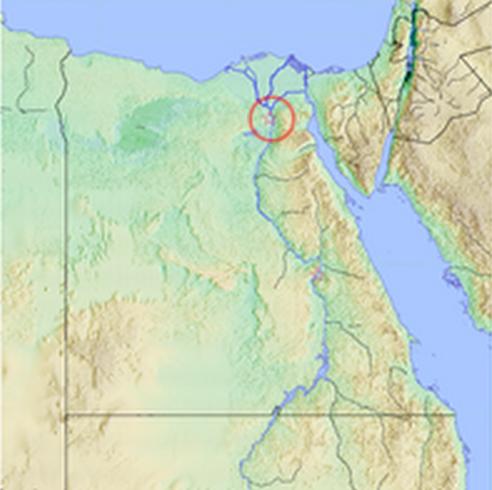 Localización en un mapa de las ciudades de Maadi y Buto, originarias de este complejo cultural