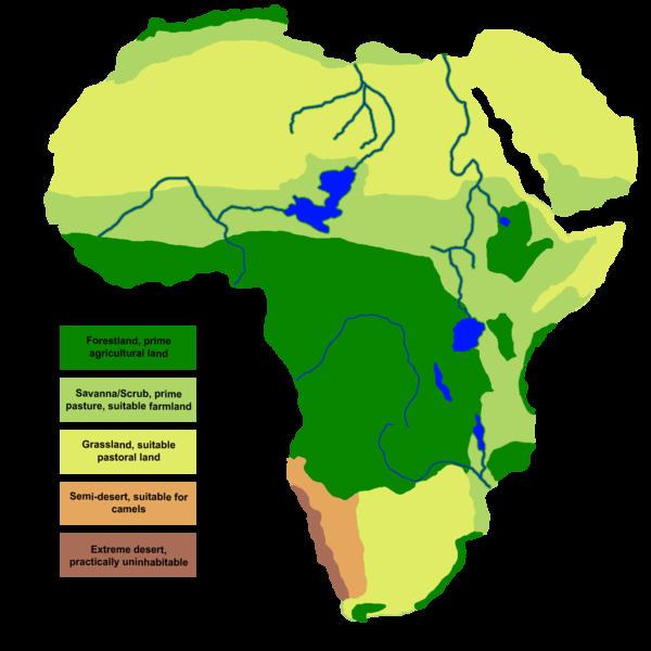 Mapa de África que muestra en forma de distribución de colores sus paleoclimas de hace 7000 años