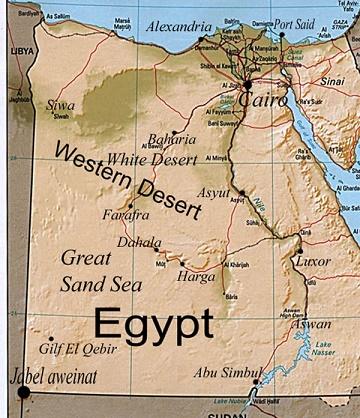 Mapa de Egipto en inglés que nos muestra la extensión del Desierto Occidental (Western Desert)