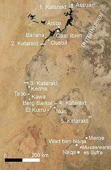 Mapa de la geografía de la región de Nubia, muy protagonista en la Historia del Antiguo Egipto