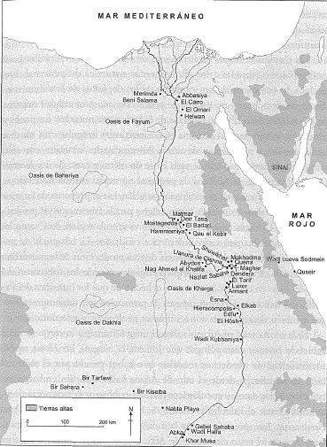 Mapa del valle del río Nilo que muestra los principales yacimientos arqueológicos paleolíticos, neolíticos y badarienses