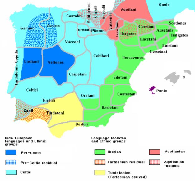 Mapa que muestra en inglés la distribución de pueblos en la Península Ibérica del 200 a.C., cuando estaba finalizando la protohistoria ibérica