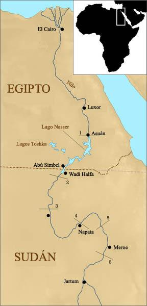Mapa sencillo y claro que señala las seis cataratas del río Nilo, Abu Simbel está cerca de la segunda catarata