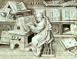Miniatura del siglo XV en el que se ve a un monje transcribiendo un texto