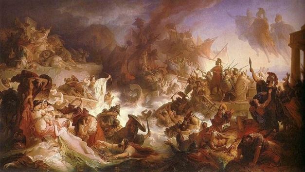 Pintura del último tercio del siglo XIX en el que se representa la batalla de Salamina, contada por uno de los atidógrafos, Clídemo