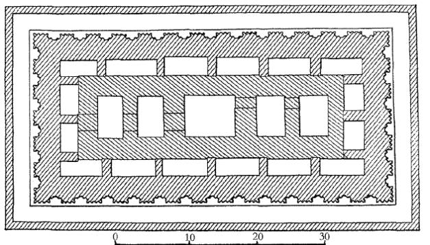 Plano con vista aérea que representa la necrópolis de la reina Plano con vista aérea que representa la necrópolis de la Neithhotep, de dinastía I
