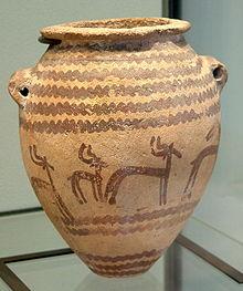 Keramikbehälter mit dekorativen Motiven von Tieren, die in Naqada II kontextualisiert wurden