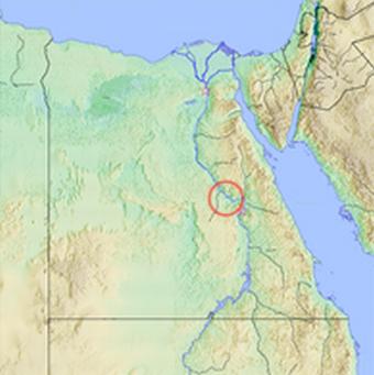 Ubicación en un mapa de la ciudad de Tinis, que habría dado nombre al periodo tinita