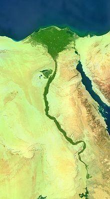 Vista satélite de lo que es el Valle del Nilo, territorio básico por el que se movió el estado egipcio