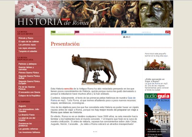 Captura de pantalla de este espectacular blog de Historia para iniciarse en el conocimiento de la Roma Antigua