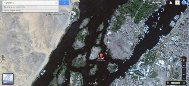Captura de pantalla de la localización en Google Maps de la isla de Elefantina, en el río Nilo