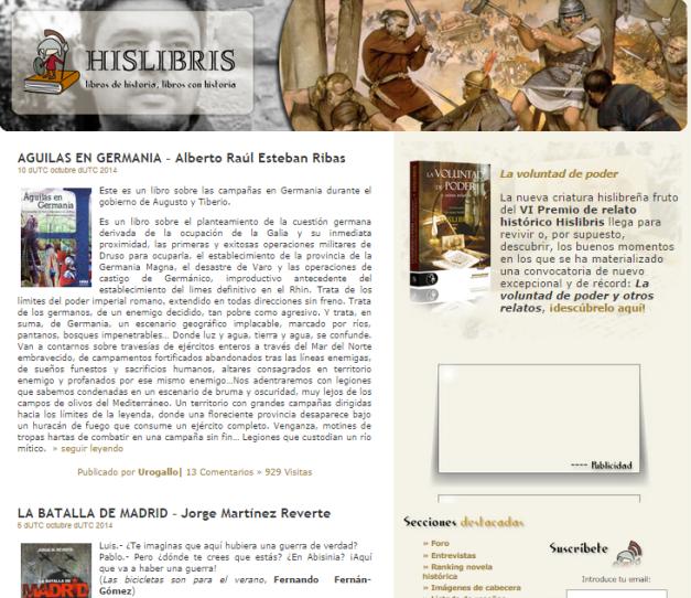 Captura de pantalla de esta veterana comunidad bloguera de literatura e Historia