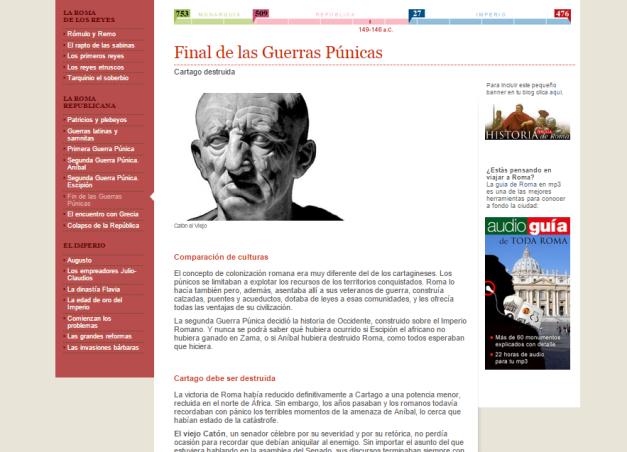 Captura de pantalla de uno de los artículos de este espléndido blog para aprender Historia de Roma