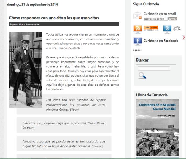 Captura de pantalla de uno de los artículos de este gran blog de curiosidades históricas