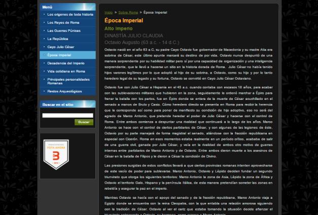 Captura de pantalla de uno de los extensos artículos de este gran blog de Historia de Grecia y Roma