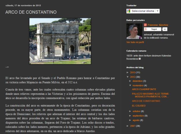 Captura de pantalla de uno de los post de este gran blog de arquitectura romana