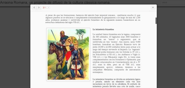 Captura de pantalla de uno de los post de este gran blog de cultura clásica romana