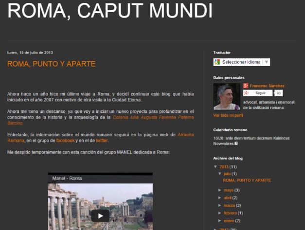 Captura de pantalla general de este gran blog de arquitectura romana antigua