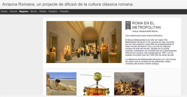 Captura de pantalla general de este gran blog de cultura clásica romana