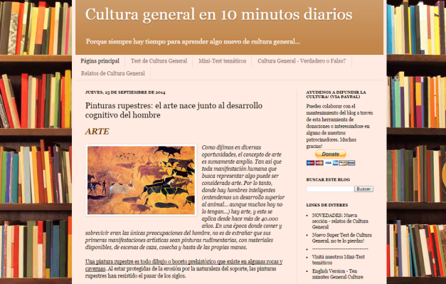 Captura de pantalla general de este gran blog de cultura general