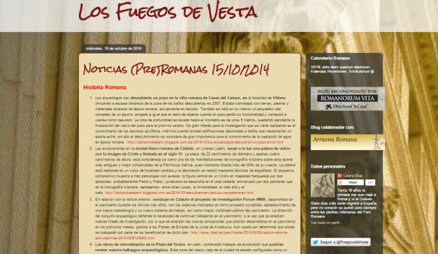 Captura de pantalla general de este gran blog de Historia Antigua de Roma