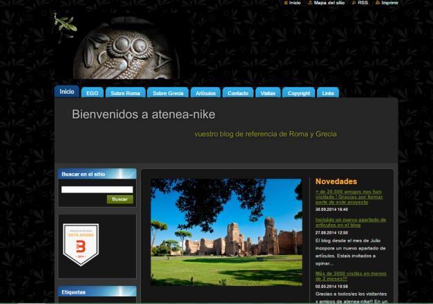 Captura de pantalla general de este gran blog de Historia de Grecia y Roma