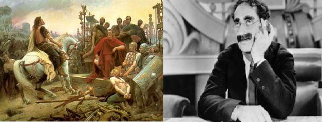 Imagen doble en el que se muestra un cuadro sobre la rendición de Vercingétorix y una foto de Groucho Marx