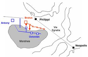 Esquema que muestra como fue el desarrollo de la segunda batalla de Filipos