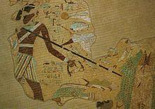 Fragmento pictórico hallado en la tumba del gobernador provincial Anjtifi
