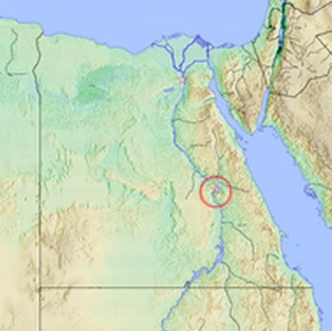 Mapa de Egipto en el que se muestra la ubicación de Dra Abu el Naga, sitio donde se halló el Papiro Boulaq 18