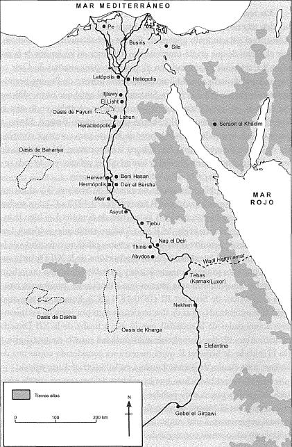 Mapa de Egipto que muestra los principales yacimientos arqueológicos del PPI y Reino Medio