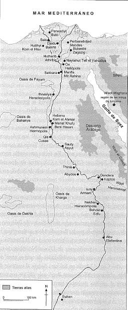 Mapa del territorio egipcio en el que ven los principales yacimientos del Reino Antiguo