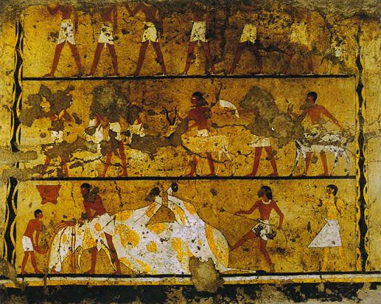 Parte de la decoración mural de la capilla de la tumba de Iti, datada del PPI