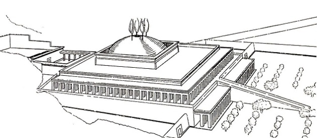 Reconstrucción de cómo debió ser el complejo funerario de Montuhotep II, con sus arbolitos y la gran rampa de acceso