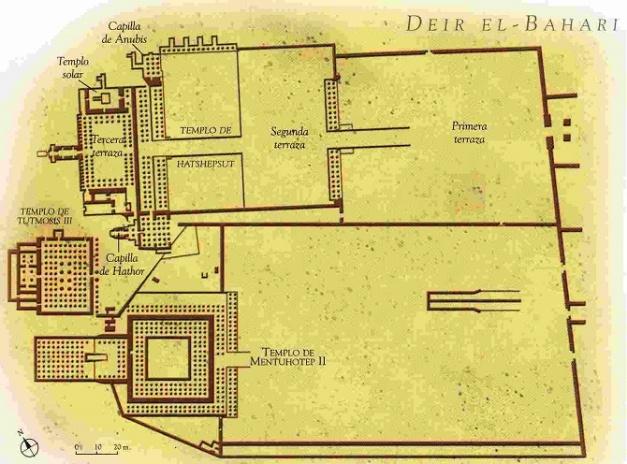 Reconstrucción del plano que debía tener la necrópolis funeraria de Deir El-Bahari, donde estaba enterrado Montuhotep II