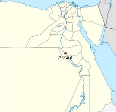Ubicación de la actual ciudad de Assiut, en el mismo sitio en el que se encontraría en el pasado Asyut