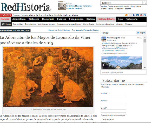 Captura de pantalla de una de las noticias sobre Historia del Arte de este espectacular portal de Historia