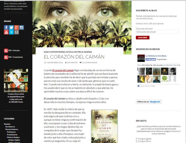 Captura de pantalla de una de las reseñas de novelas históricas de este gran blog