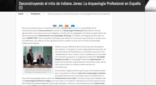 Captura de pantalla de uno de los artículos de esta gran página web de artículos de Historia