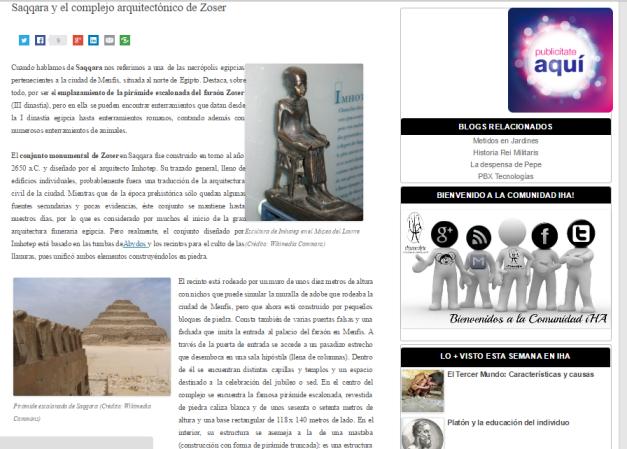Captura de pantalla de uno de los artículos de esta gran web de Historia y Arte