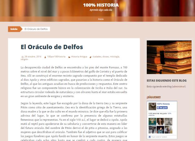 Captura de pantalla de uno de los artículos de este gran blog de Historia en general