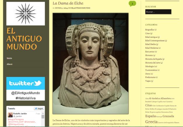 Captura de pantalla de uno de los artículos de este gran blog de Historia