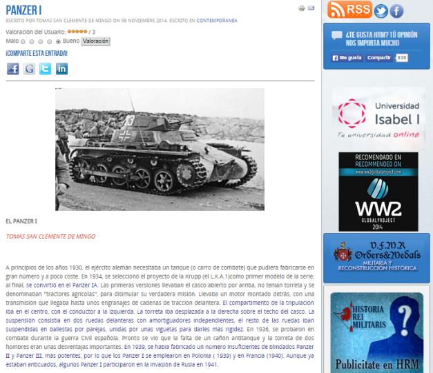 Captura de pantalla de uno de los artículos de Historia militar contemporánea de esta gran página