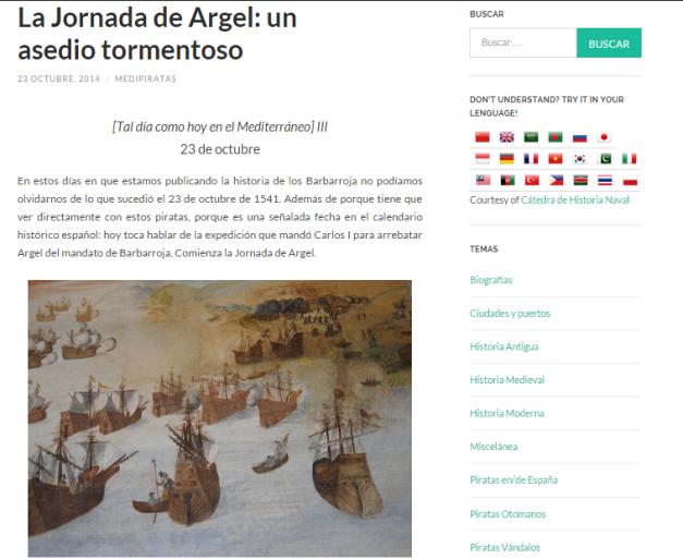 Captura de pantalla de uno de los articulos de este blog de Historia naval y marítima