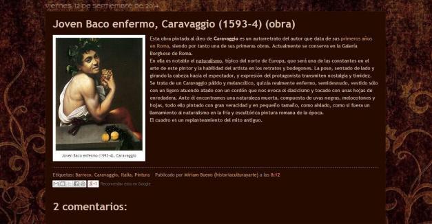 Captura de pantalla de uno de los breves artículos de este gran blog de Historia, cultura y arte