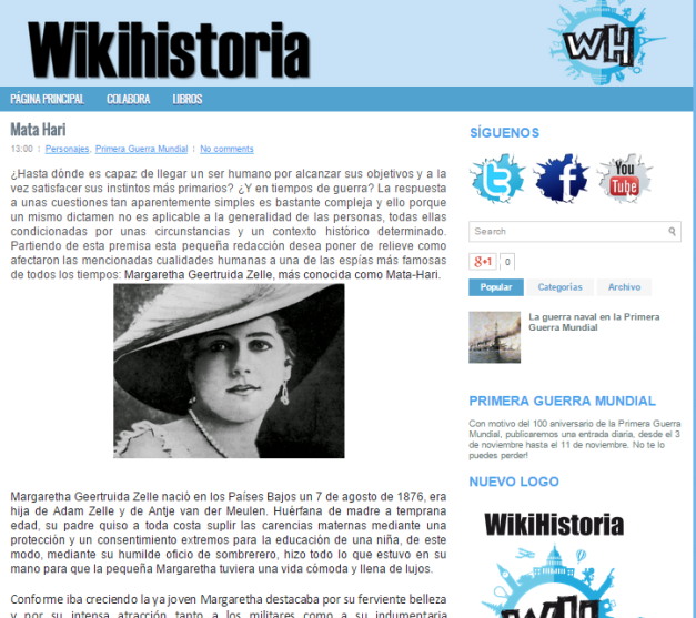Captura de pantalla en el que se puede ver parte de uno de los artículos de este gran blog de Historia