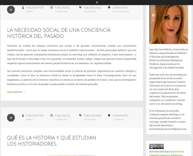 Captura de pantalla en la que se pueden ver los dos artículos que tiene por el momento de Historiografía