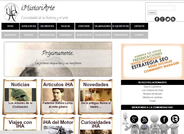 Captura de pantalla general de esta gran página de Historia Universal y del Arte